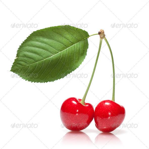 red cherry with leaf isolated on white - Stock Photo - Images