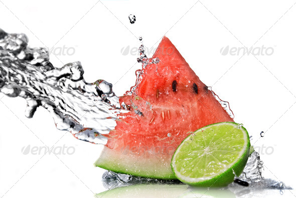 watermelon, lime and water splash isolated on white - Stock Photo - Images