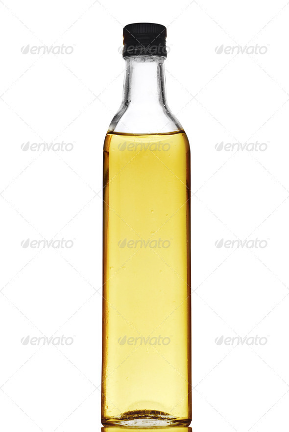 Olive oil bottle isolated on white - Stock Photo - Images