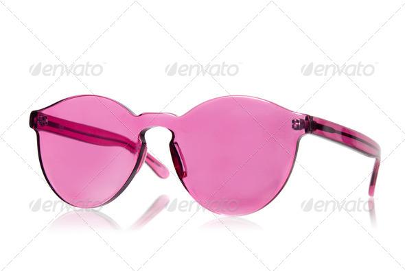 Pink sunglasses isolated on white - Stock Photo - Images