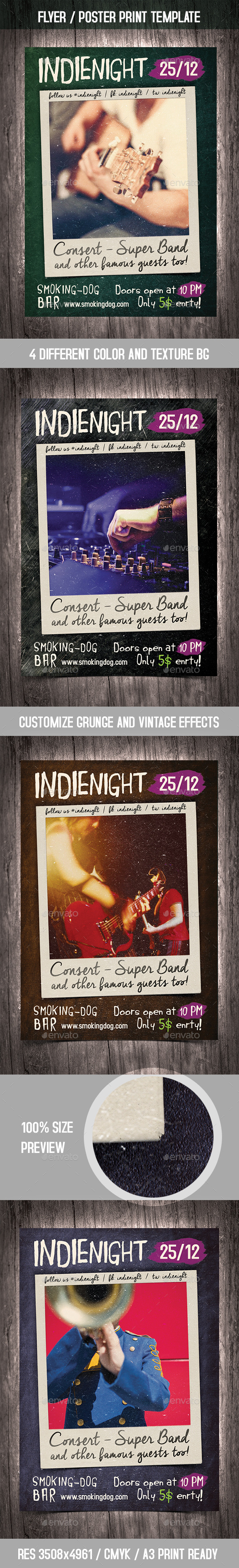 Photo Party Poster / Flyer Vintage Template - Clubs & Parties Events