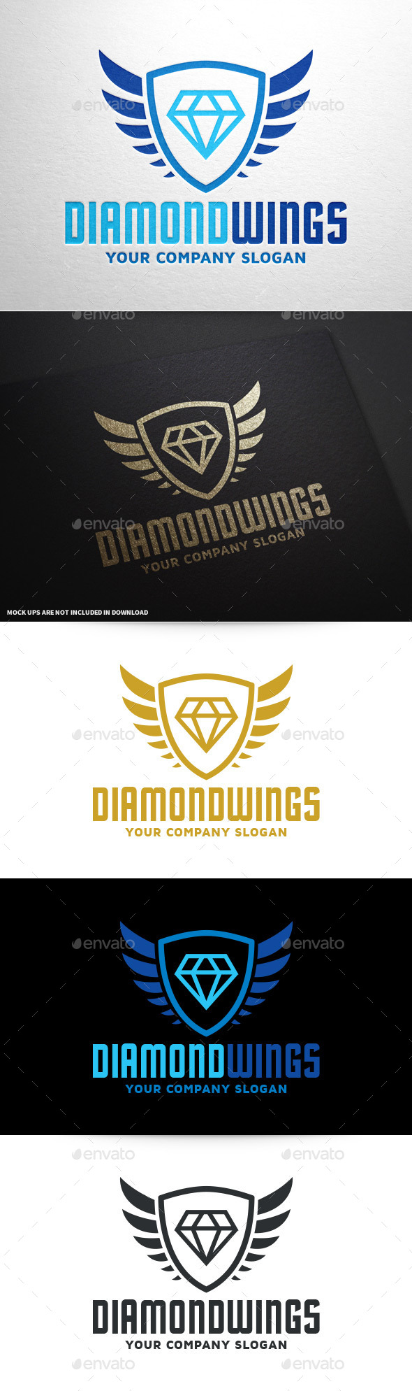 Diamond Wings Logo Template - Crests Logo Templates
