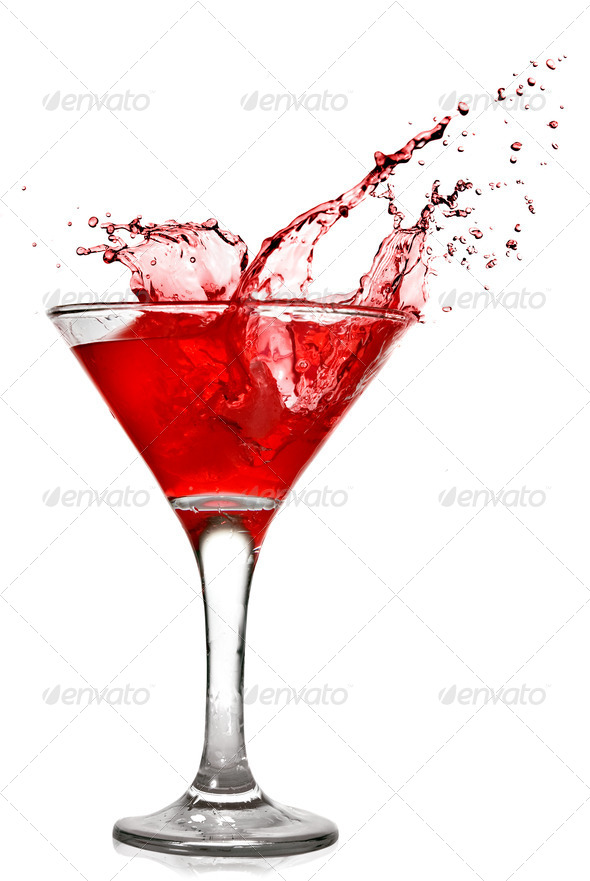 Red cocktail with splash isolated on white - Stock Photo - Images