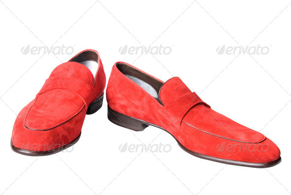 red male leather shoes isolated on white - Stock Photo - Images