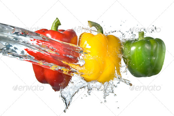 red, yellow and green pepper with water splash isolated on white - Stock Photo - Images
