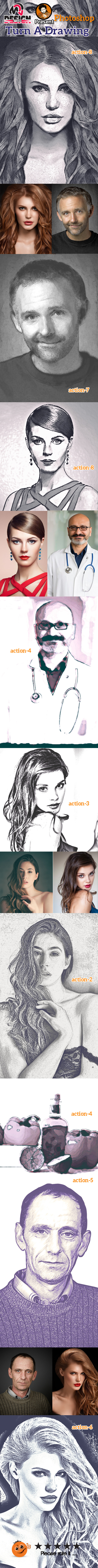 Turn A Drawing Action - Actions Photoshop