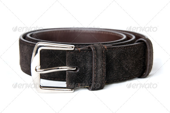 dark brown leather belt isolated on white - Stock Photo - Images