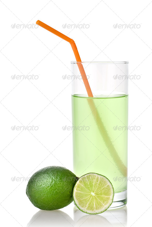 lime juice with lime isolated on white - Stock Photo - Images