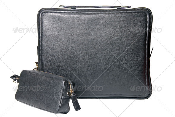 luxury black leather male bag for notebook isolated on white - Stock Photo - Images