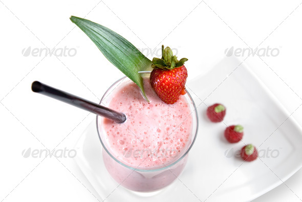 strawberry milkshake isolated on white - Stock Photo - Images
