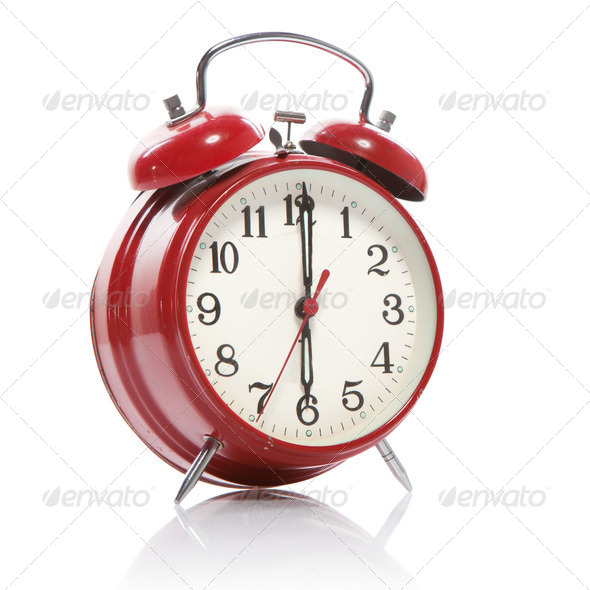 red old style alarm clock isolated on white - Stock Photo - Images