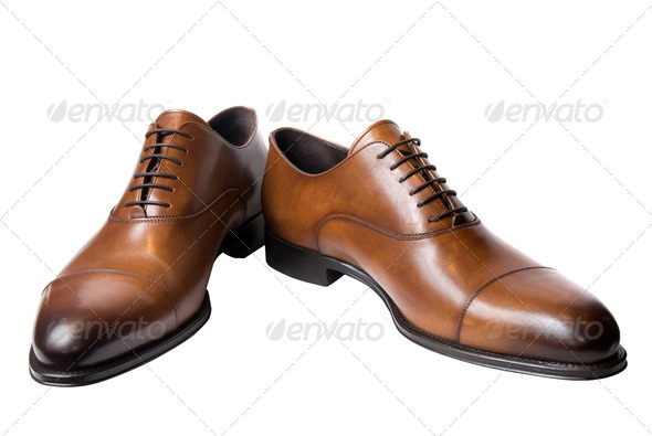 classic brown male leather shoes isolated on white - Stock Photo - Images