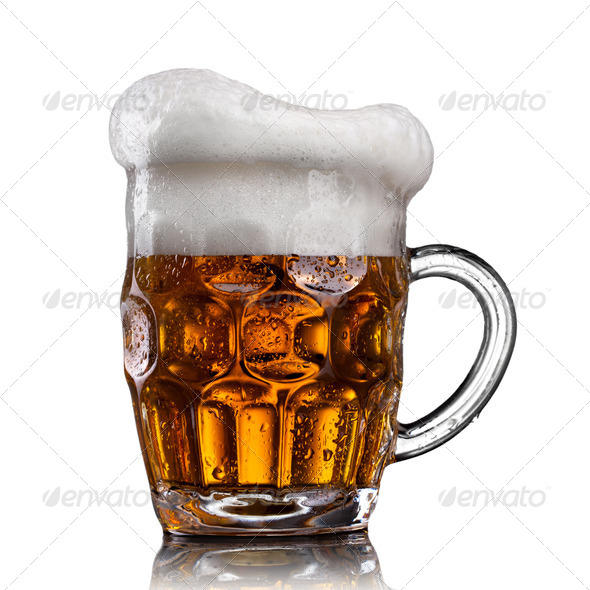 Beer in glass with water drops isolated on white - Stock Photo - Images