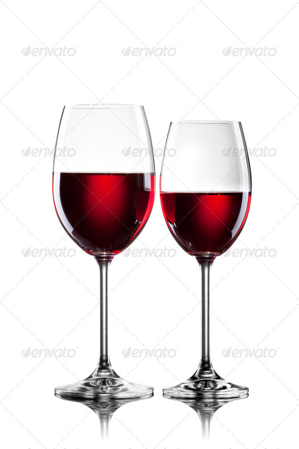 Red wine in glasses isolated on white - Stock Photo - Images
