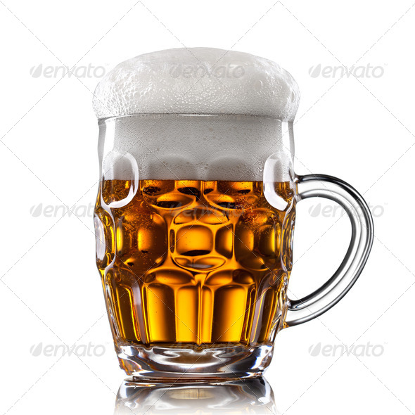 Beer in glass isolated on white - Stock Photo - Images