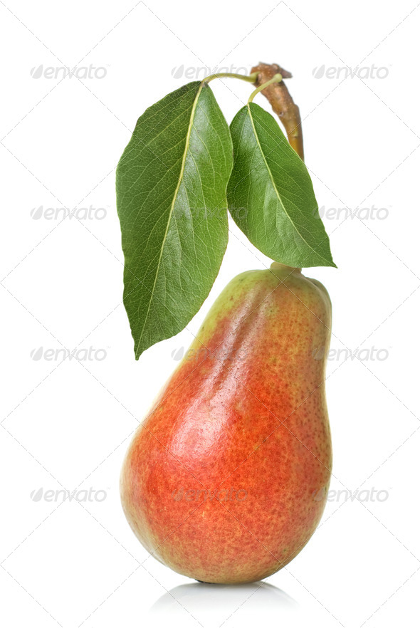 red pear with leaves isolated on white - Stock Photo - Images