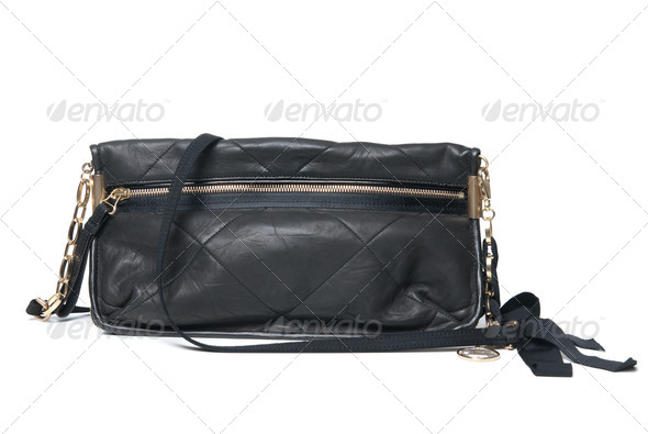 black leather clutch isolated on white - Stock Photo - Images