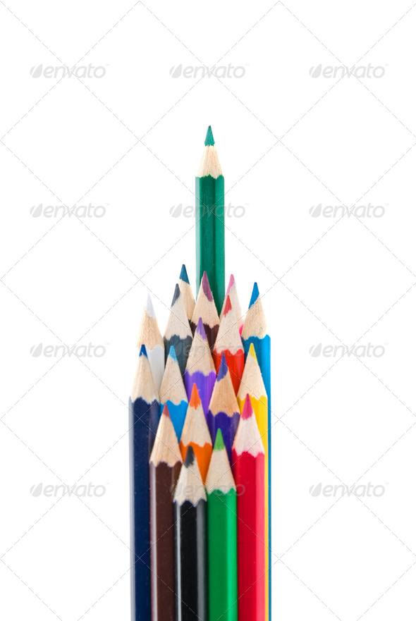 color pencils isolated on white - Stock Photo - Images