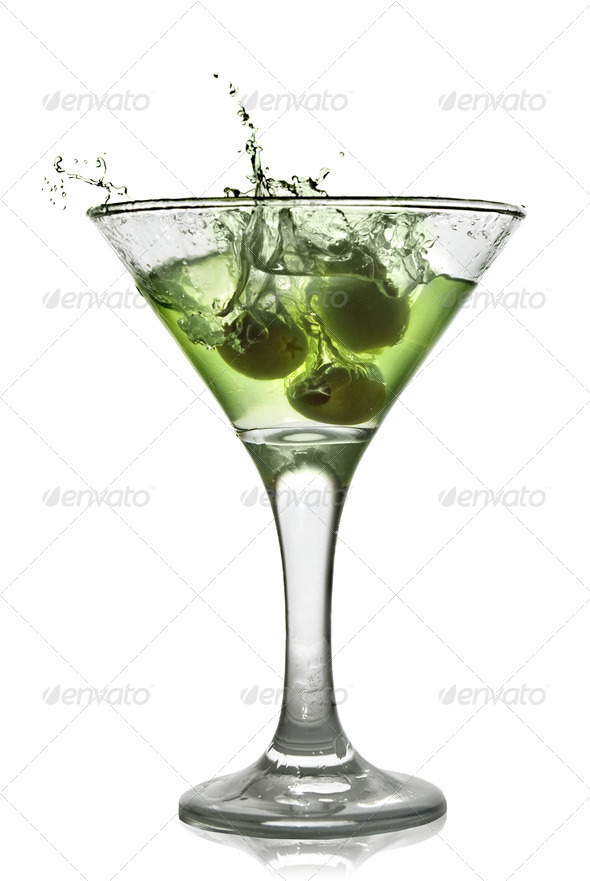 Green alcohol cocktail with splash isolated on white - Stock Photo - Images