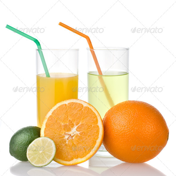 lime and orange juice with orange isolated on white - Stock Photo - Images