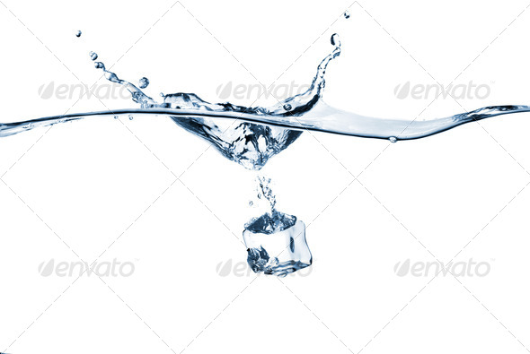 ice cube dropped into water with splash isolated on white - Stock Photo - Images
