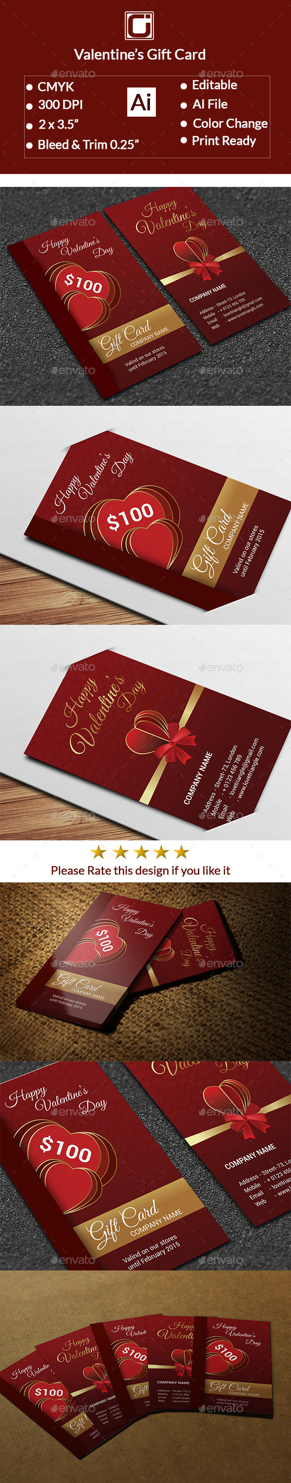 Valentine's Gift Card - Cards & Invites Print Templates