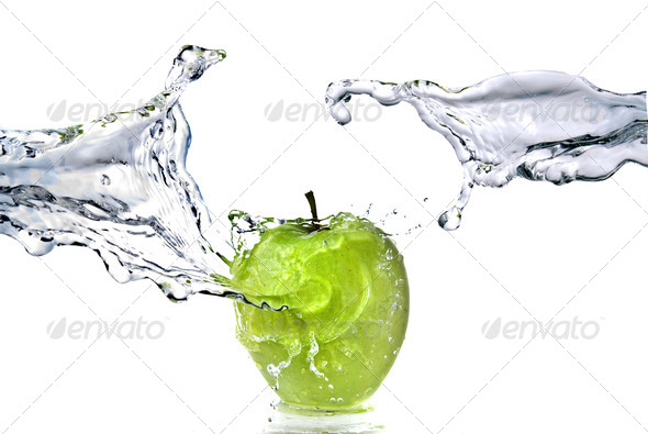 perfect fresh water splash on green apple isolated on white - Stock Photo - Images