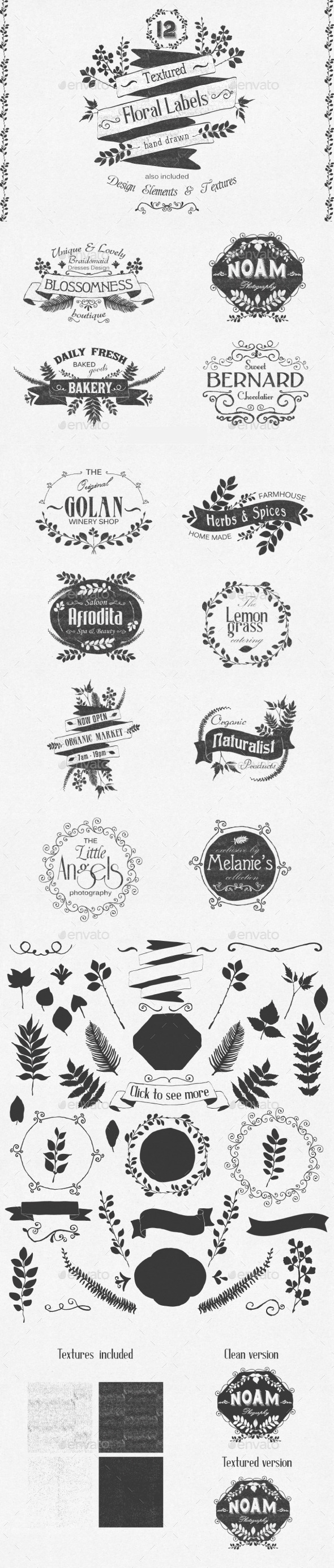 Hand Drawn Floral Labels and Design Elements - Web Elements Vectors