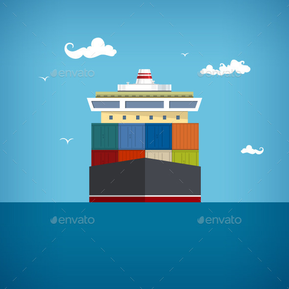 Cargo Container Ship - Industries Business