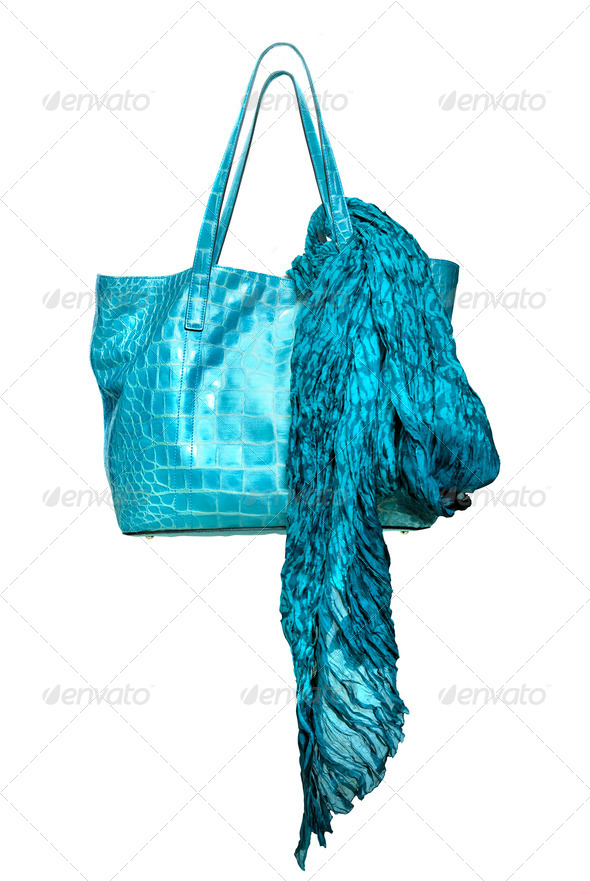 luxury blue leather female bag with shawl isolated on white - Stock Photo - Images