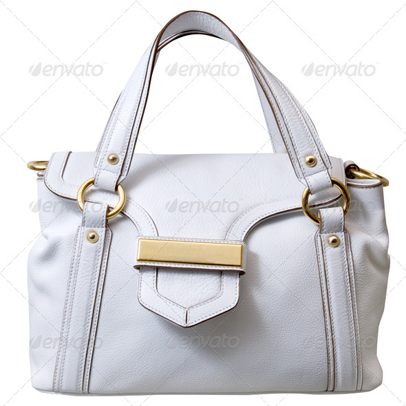 luxury white leather female bag isolated on white - Stock Photo - Images