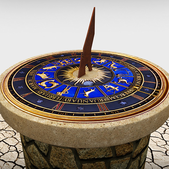 Solar sundial clock - 3DOcean Item for Sale