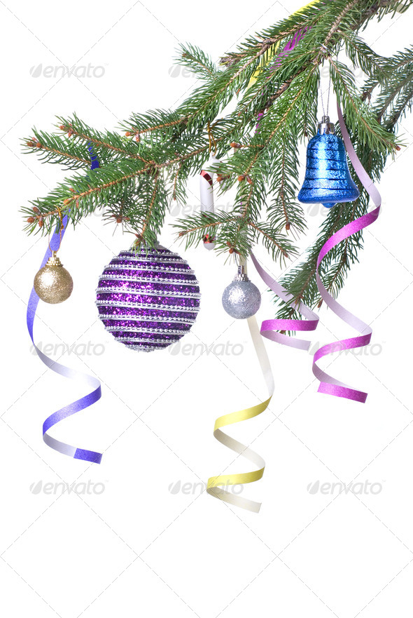 Christmas balls and decoration on fir tree branch isolated on wh - Stock Photo - Images