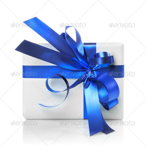 Holiday gift with blue ribbon isolated on white - Stock Photo - Images