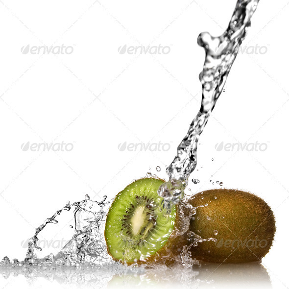 Water splash on kiwi isolated on white - Stock Photo - Images