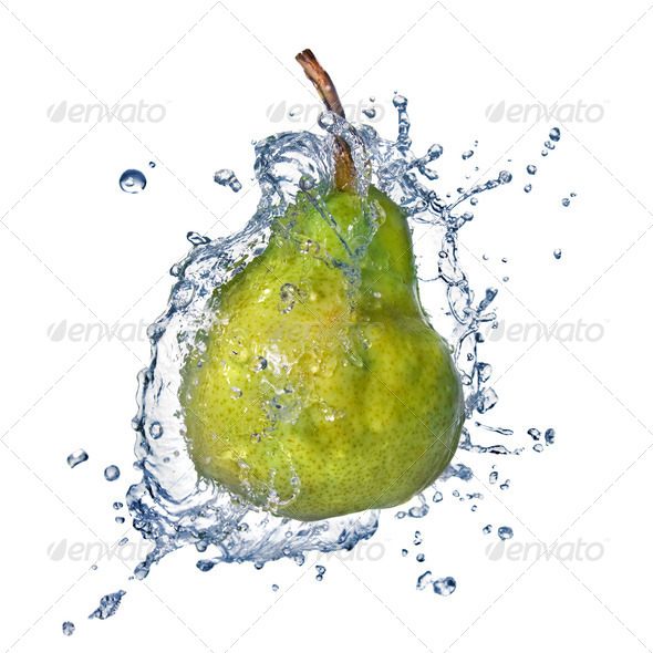 green pear with water splash isolated on white - Stock Photo - Images