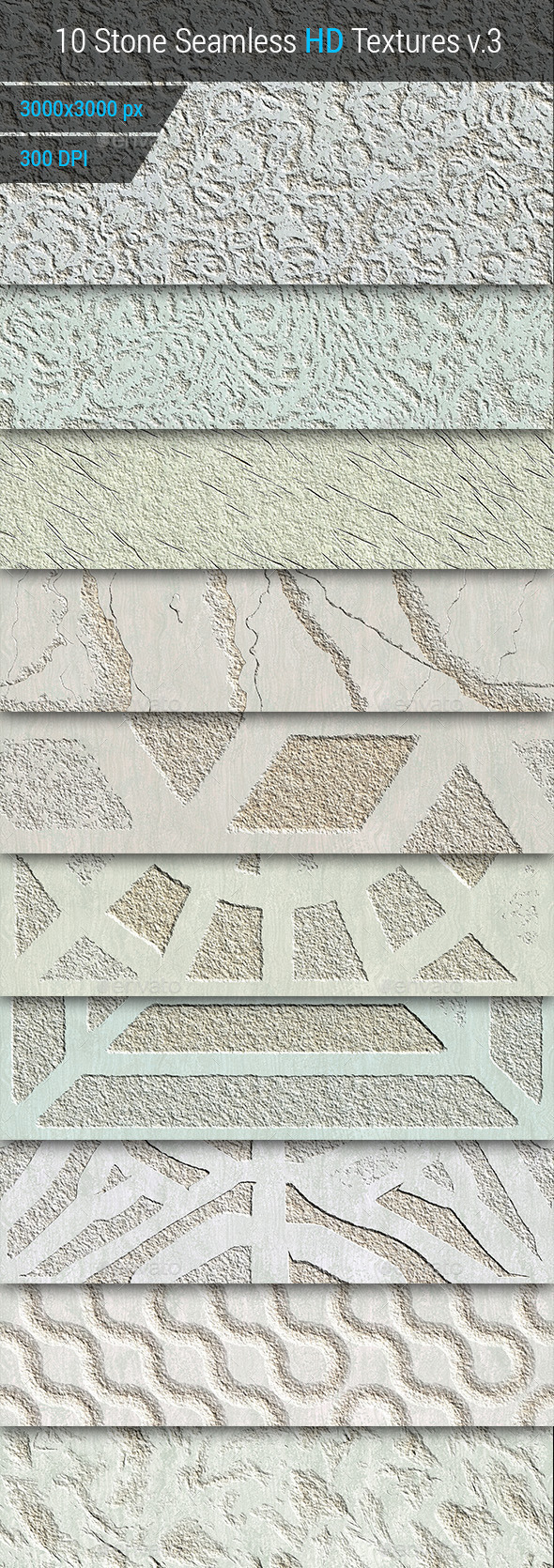 Stone Seamless and Tileable HD Textures Set v.3 - Stone Textures