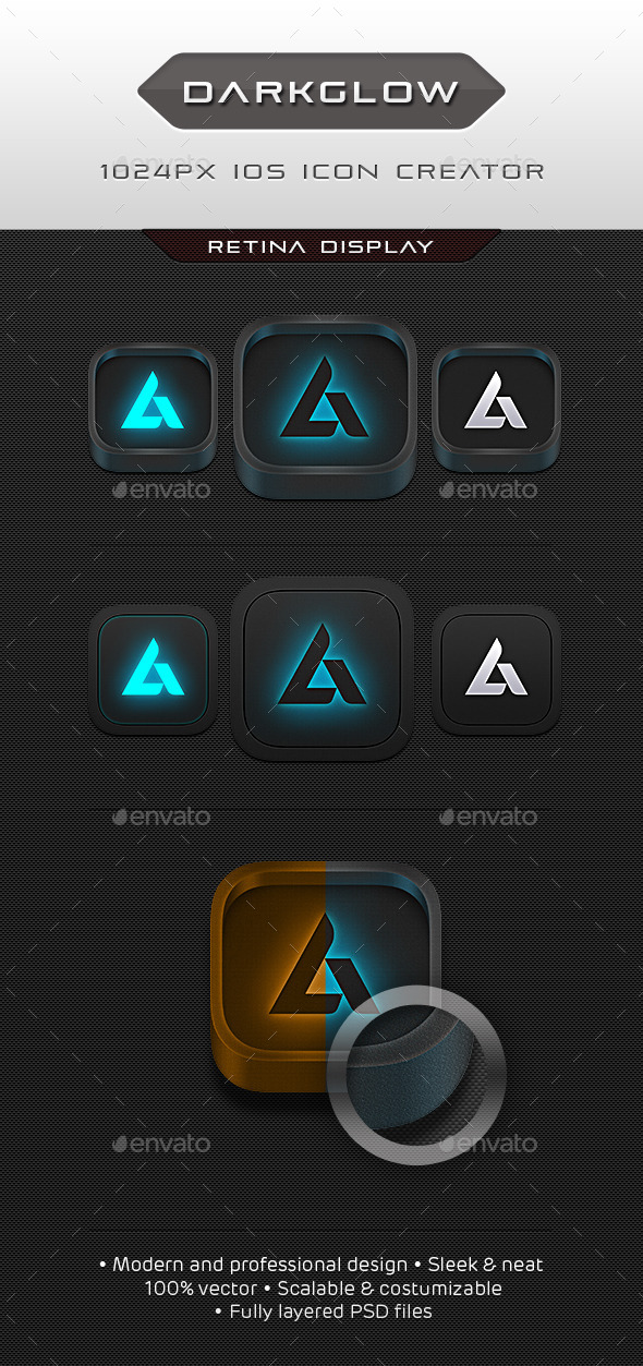 Dark Glow Icon Creator - Technology Icons