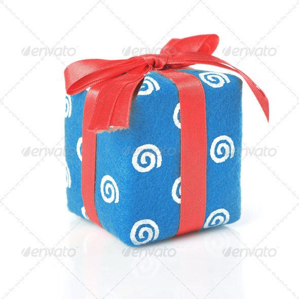 Blue gift with red ribbon isolated on white - Stock Photo - Images