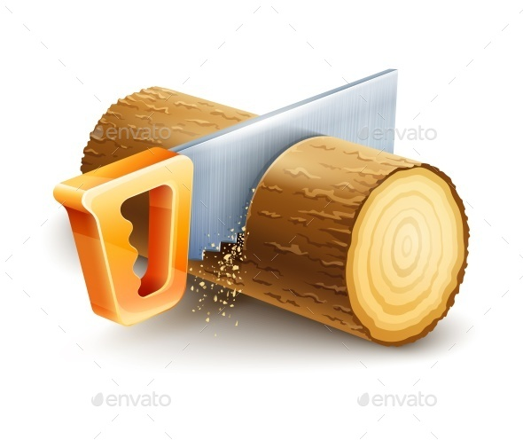 Manual Saw Cutting Wooden Timber - Man-made Objects Objects