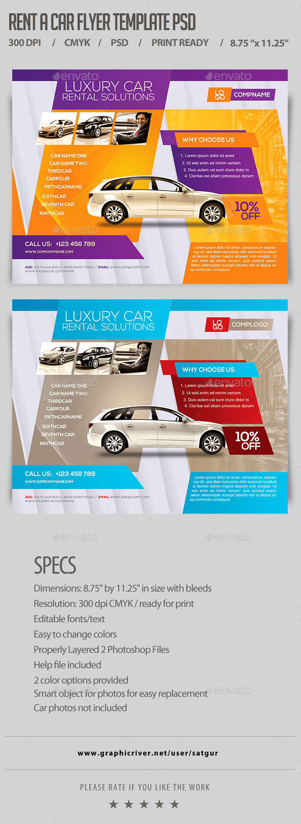 Rent a Car Flyer Template PSD - Corporate Flyers