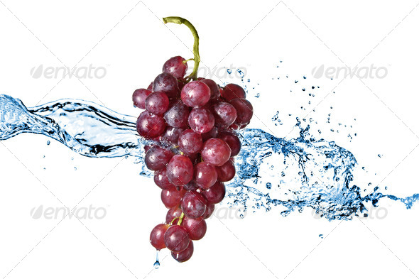 blue grape with water splash isolated on white - Stock Photo - Images