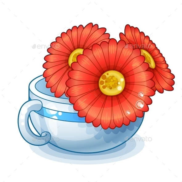Red Flowers in a Cup - Objects Vectors
