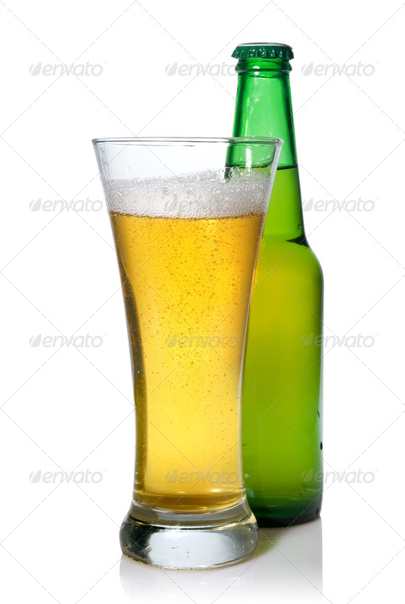 Beer in bottle and glass isolated on white - Stock Photo - Images