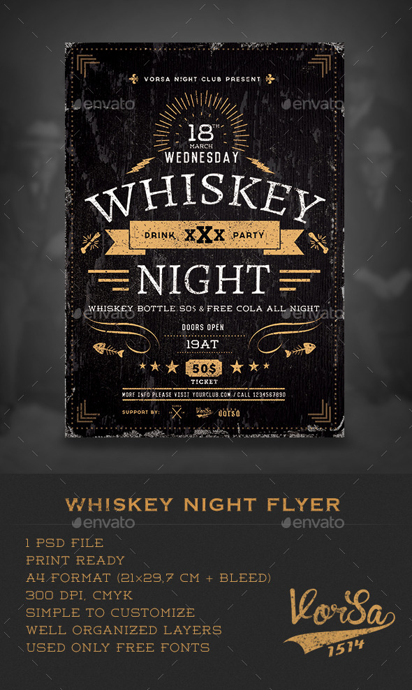 Whiskey Night Flyer  - Clubs & Parties Events