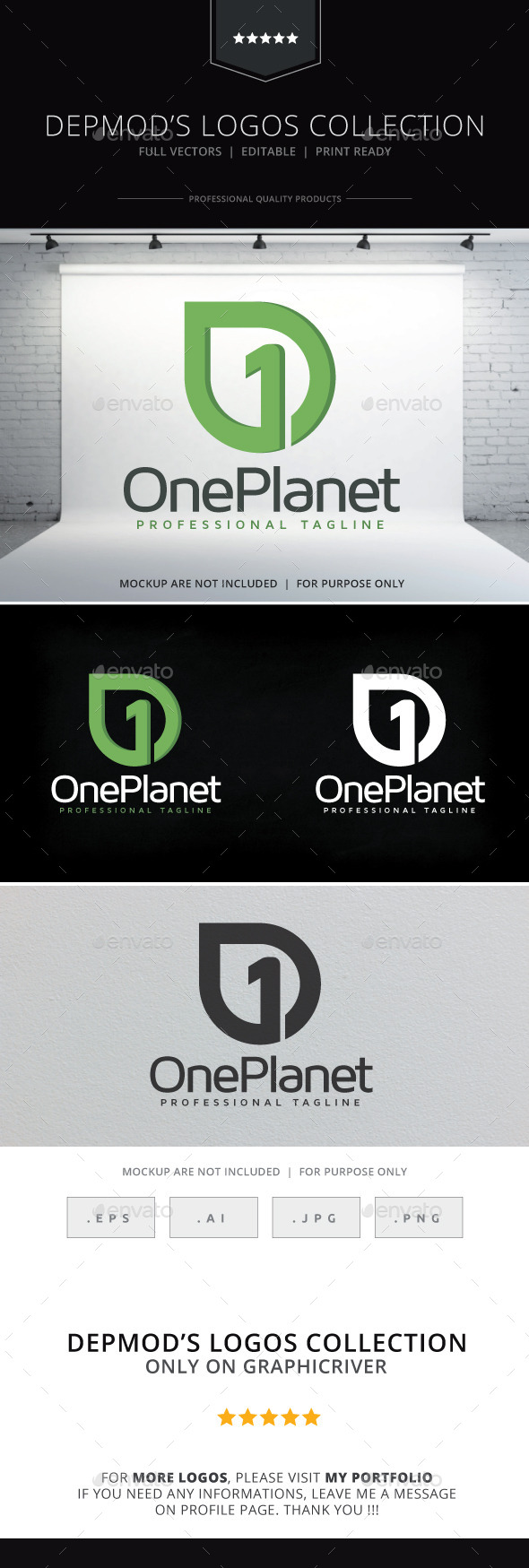 One Planet Logo - Numbers Logo Templates