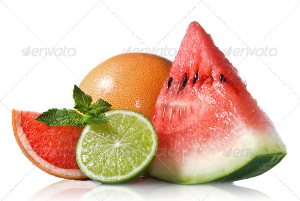 Watermelon, grapefruit and lime with mint isolated on white - Stock Photo - Images