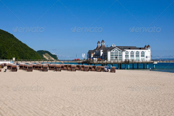 Beach and pier at the baltic Sea - Stock Photo - Images