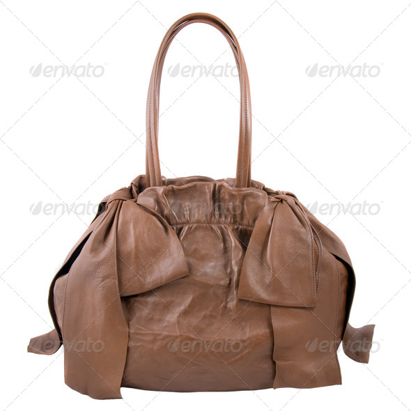 luxury brown leather female bag isolated on white - Stock Photo - Images