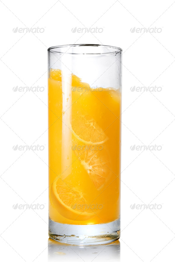 orange juice with slices of orange in the glass isolated on whit - Stock Photo - Images